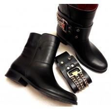 Женские ботинки-полусапоги Hermes кожаные 2017 0003НКМ
