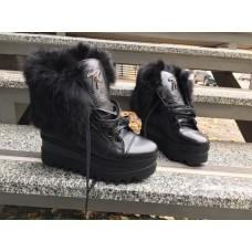 Ботинки зимние женские кожаные на платформе марсала/черные 0005АВКМ