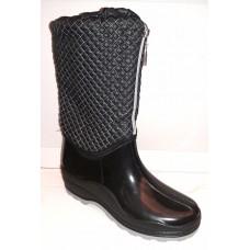 Женские стильные резиновые сапоги Украина черные 0131УКМ