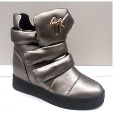 Модные сникерсы серебро, черные 0402КФМ