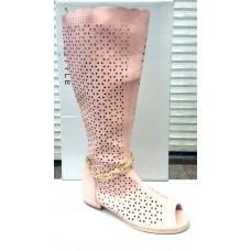 Сапоги женские высокие летние розовые 0036КФМ