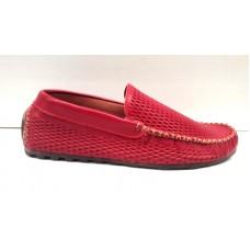 Мокасины летние мужские кожаные красные, коричневые 0029БМ