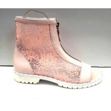 Сапоги-ботинки женские летние верх кожаный сетка розовые 0020ВРМ