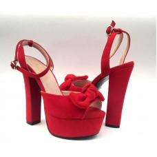 Босоножки женские на высоком каблуке цвет красный 0451КФМ