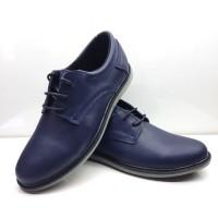 Туфли для подростков кожаные черные и синие на шнуровке 0454УКМ