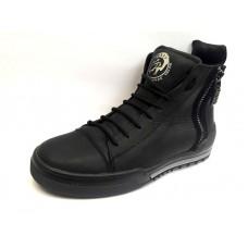 Ботинки мужские кожаные зимние черные 0457УКМ