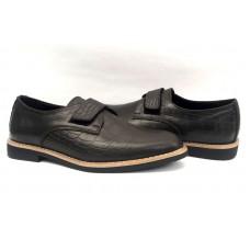 Туфли для мальчиков кожа рептилии на липучке темно-коричневые,черные 0475УКМ