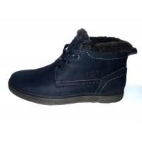 Ботинки мужские зимние натуральный нубук внутри мех шерстяной черные/синие 0002КА