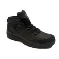 Ботинки мужские зимние кожаные натуральные черные 0028Ц