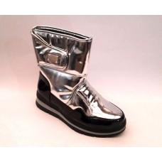 Ботинки-дутики женские зимние серебряные 0221КФМ