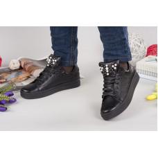 Женские слипоны кожаные черные 0047АВМ