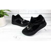 Женские кроссовки кожаные с замшевыми вставками черные 0054КОМ