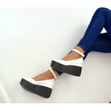 Женские туфли на платформе кожаные/замшевые цвета разные 0003ТОПС