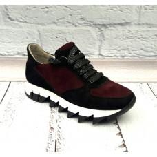 Женские кроссовки замшевые натуральные цвет марсала 0019СОФ