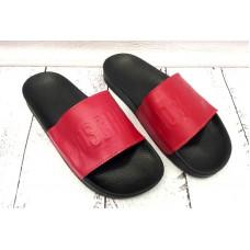 Мужские  шлепанцы кожаные красные 0004АФМ