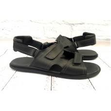 Мужские босоножки большие размеры кожаные черные 0125УКМ
