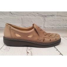 Туфли мужские летние классические кожа перфорация коричневые 0368КФМ