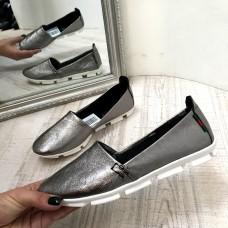 Балетки женские кожаные серебряные 0058АВК