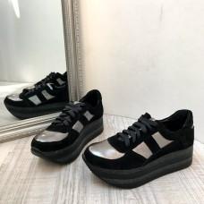 Женские кроссовки замшевые черные с серебром 0065АВК