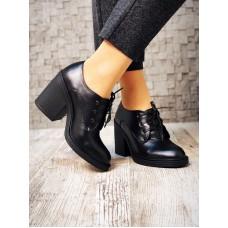 Женские закрытые туфли на устойчивом каблуке замша/кожа разные цвета 3487НКМ