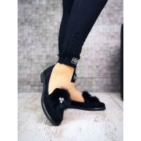 Женские туфли замшевые с натуральным мехом черные 3957НКМ