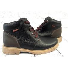 Ботинки для подростка зимние на замочке кожаные натуральные коричневые 0006БР