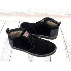 Ботинки мужские зима кожа и замша черные 0015АФМ
