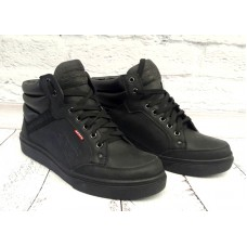 Ботинки мужские зимние кожа черные/синие 0013ЛЕМ