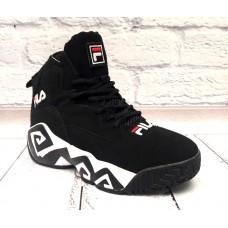 Ботинки мужские зимние замшевые черные 0514КФМ