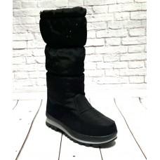 Женские сапоги без каблука дутики черные 0526КФМ