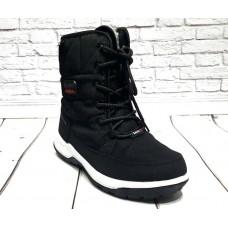 Дутики на шнурках черные, синие 0527КФМ