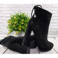 Женские ботинки на каблуке осень весна черные 0233КФМ