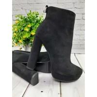 Женские ботинки/ботильоны на каблуке демисезонные черные 0021ЛИМ