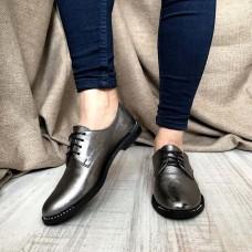 Женские туфли без каблука лаковая кожа черные серые 0116АВК