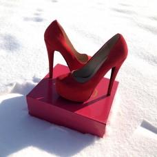 Женские туфли красные черные 0065КФМ