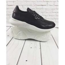 БЕСПЛАТНАЯ ДОСТАВКА! Кожаные кроссовки мужские черные 0032ГРМ