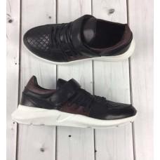 БЕСПЛАТНАЯ ДОСТАВКА! Модные мужские кроссовки 2019 кожаные черные 0039ГРМ