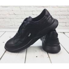 БЕСПЛАТНАЯ ДОСТАВКА! Кроссовки мужские кожаные черные 0065-1ГРМ