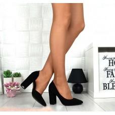 Женские туфли на каблуке замша/кожа разные цвета 4576ТОПС