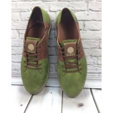 БЕСПЛАТНАЯ ДОСТАВКА! Модные мужские туфли нубук зеленые 0061ГРМ
