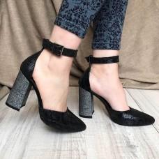 Женские туфли на каблуке из кожи и замши 0014АВМ