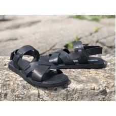 Летние мужские босоножки кожа черные 0019АФМ