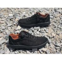 Летние мужские кроссовки коричневые и черные 0633УКМ