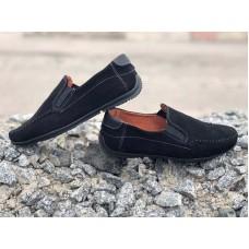 Мокасины туфли детские замшевые черные 0635-1УКМ