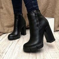 Женские высокие ботинки на каблуке деми 0130АВК