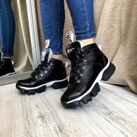 Зимние ботинки женские без каблука кожа 0132АВК
