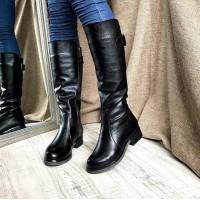 Женские сапоги на среднем каблуке кожа/замша 0149АВК