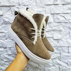 Женские ботинки низкие кожа/замша деми/зима 0037БНМ