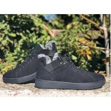 Зимние ботинки мужские нубук черные 0663УКМ