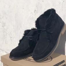 Мужские зимние ботинки нубук черные коричневые 0665УКМ